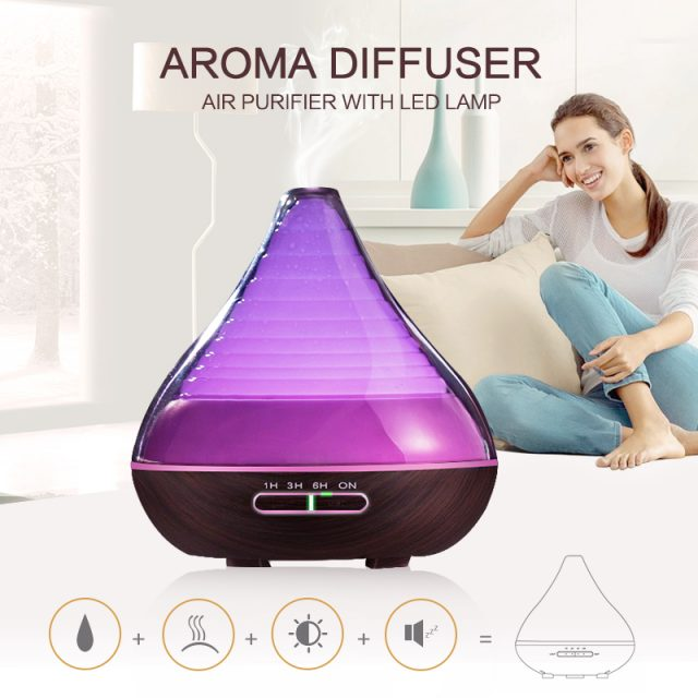 300ml Ultrasonic Aroma Essential Oil Diffuser – Dark Wood Grain with Lighting Ambiance for Office Home Bedroom Living Room Study Yoga Spa – FREE SHIPPING