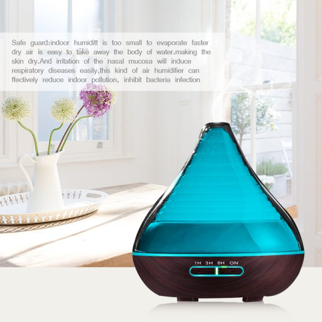 300ml Aroma Essential Oil Diffuser Dark Wood Grain Ultrasonic Cool Mist Humidifier for Office Home Bedroom Living Room Study Yoga Spa with Auto Shut-Off