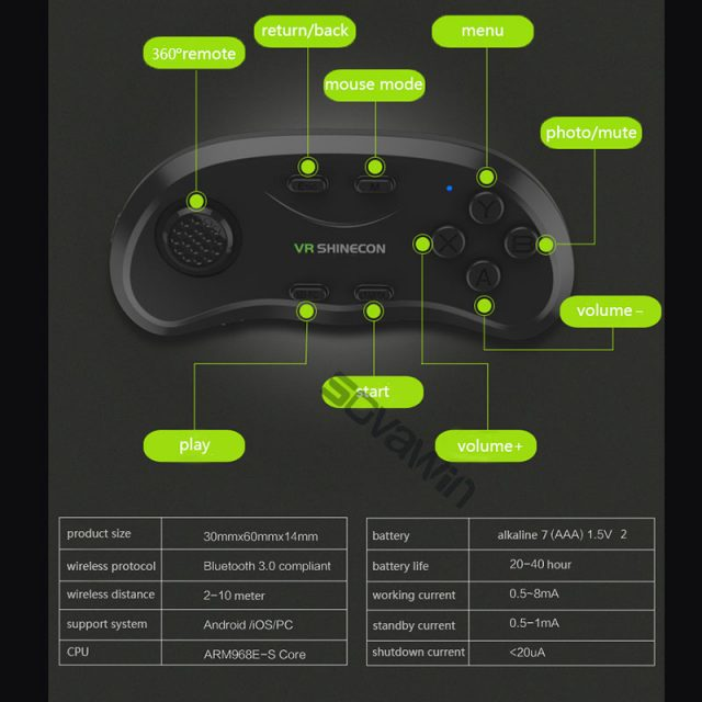 Shinecon Universal VR Controller Wireless Bluetooth Remote  Joystick Gamepad  Music Selfie 3D Games for IOS Android PC TV