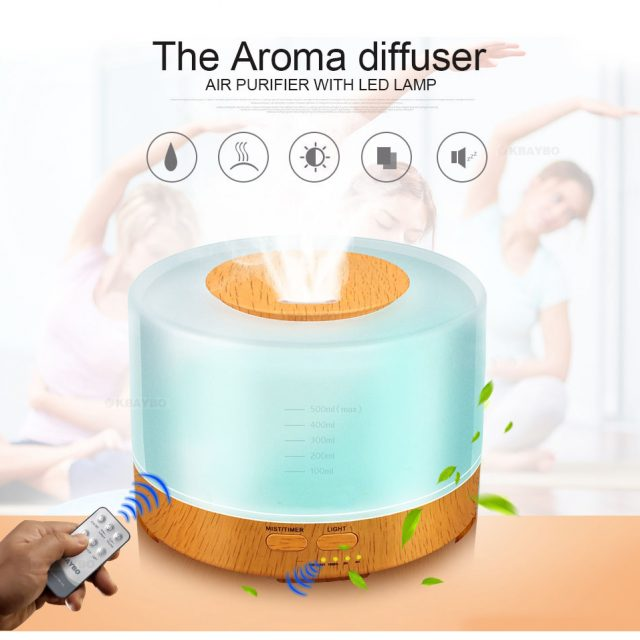 500ml remote control Aroma Essential Oil Diffuser Ultrasonic Air Humidifier with 4 Timer Settings 7 Color Changing LED Lamp with FREE Shipping