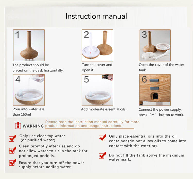 instruction manual 160ml essential oil diffuser