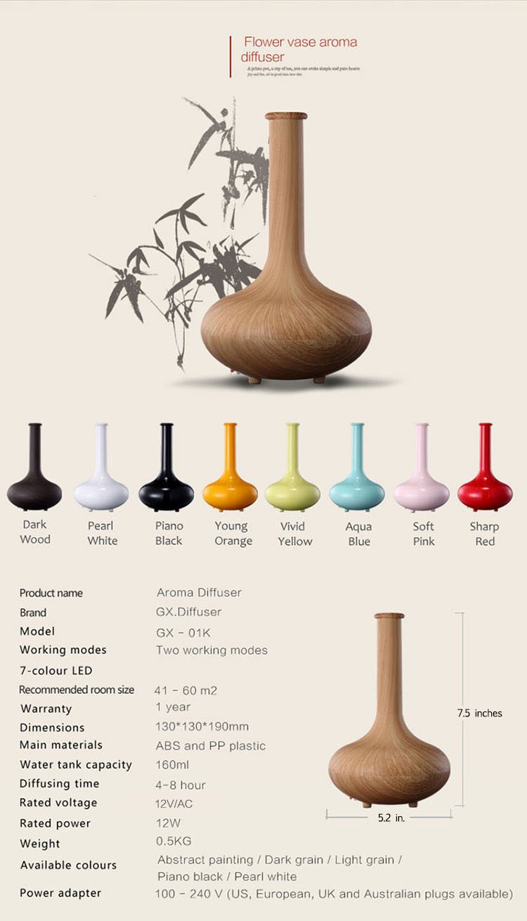 wooden vase aroma diffuser