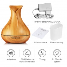 400ml Ultrasonic Aroma Diffuser for Essential Oils – Aroma Air Humidifier Light or Dark Wood Grain Color  – FREE SHIPPING