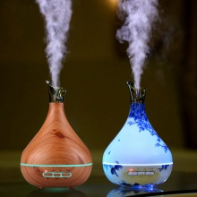 300ml NEW Aroma Essential Oil Diffuser Vase Shaped Ultrasonic Air Humidifier Purifier with Porcelain or Wood Grain finishing incl. LED Lights for Home Bedroom Office  – FREE SHIPPING